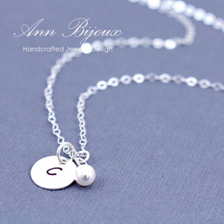 Personalized Hand Stamped Initial with Dainty Pearl Necklace