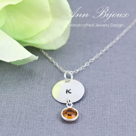 Customized Hand Stamped Initial with Birthstone Necklace