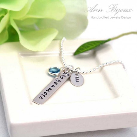 """""""I Love You More"""" Hand Stamped Initial Jewelry"""