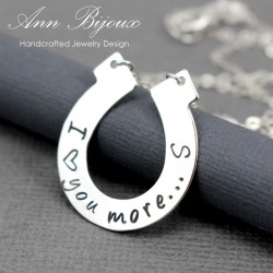 I Love You More Hand Stamped Horseshoe Necklace