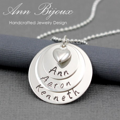 3 Layered Family Name with Dainty Heart Mommy Necklace
