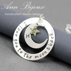 Hand Stapmed I Love You To The Moon and Back Necklace