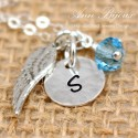 Dainty Initial witn Angel Wing Charm Necklace