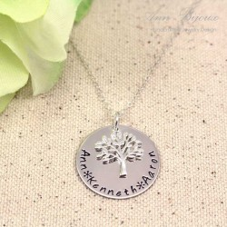 Tree of life Personalized Hand Stamped Necklace