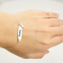 Hand Stamped Name with Tiny Cross Charm Bracelet