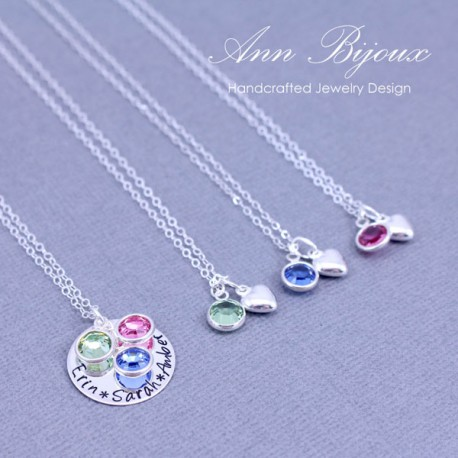 Mother and Daughters Heart with Birthstone Necklace