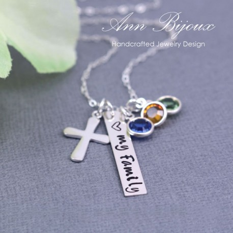 "Personalized "" Love My Family "" Silver Bar with Cross Necklace"