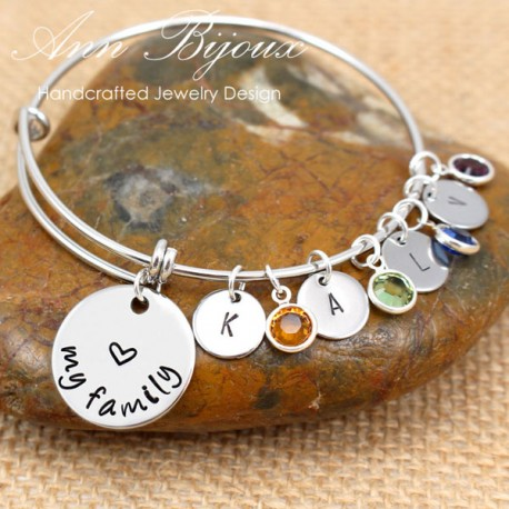 Love My Family Hand Stamped Stainless Steel Bangle Bracelet