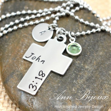 Favorite Bible Verse Hand Stamped Stainless Steel Necklace