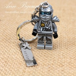 Hand Stamped Name with Lego Keychain