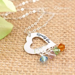 My Family Message Sterling Silver Heart Charm with Birthstone Necklace