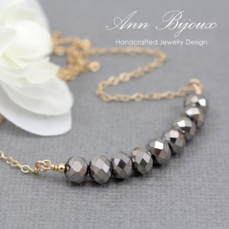 Delicate Faceted Glass Gold Filled Necklace