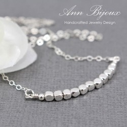 Sterling Silver Beaded Cubic Bar Necklace