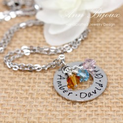 Hand Stamped Family Name with Birthstone Necklace