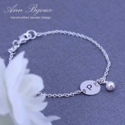Dainty Initial with Pearl Hand Stamped Bracelet