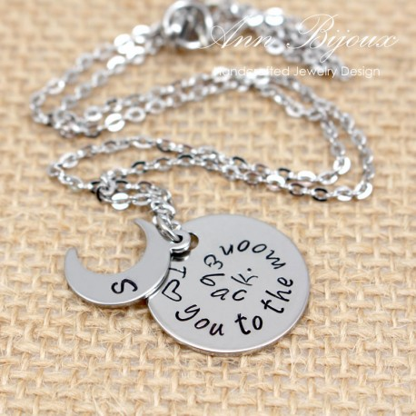 I Love You To The Moon and Back Message Mother Necklace
