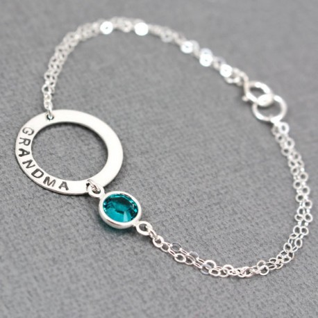 Personalized Sterling Silver Washer with Birthstone Bracelet