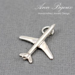 Airplane Charm/Sterling Silver Charm with Jump Ring