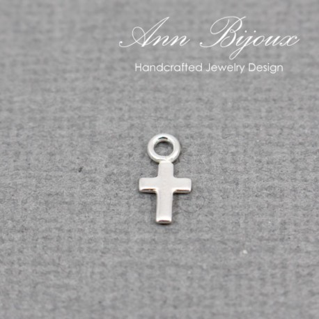 Dainty Cross Charm/Sterling Silver Charm with Jump Ring