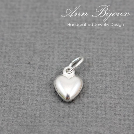 Dainty Heart Silver Charm/Sterling Silver Charm with Jump Ring