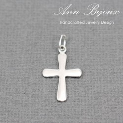 Minimalist Cross Charm/Sterling Silver Charm with Jump Ring