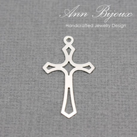Cross Charm/Sterling Silver Charm with Jump Ring