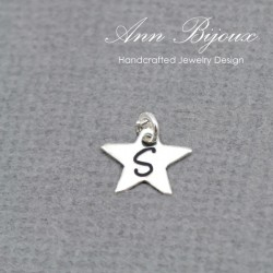 Sterling Silver Dainty Star Charm with Initial