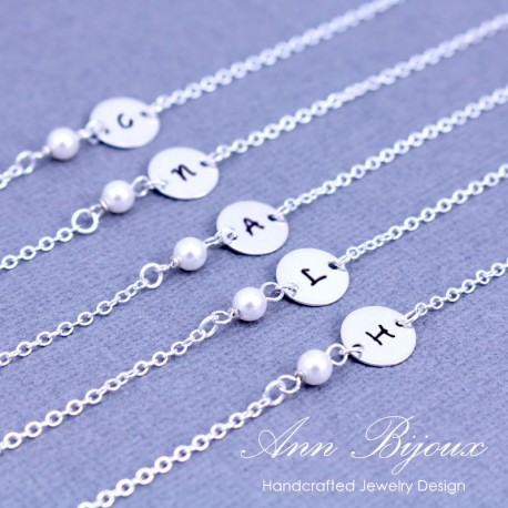 Set of 3,4,5 Bridesmaid Initial with Pearl Bracelet