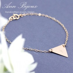 14k Gold Filled Dainty Triangle Initial Bracelet