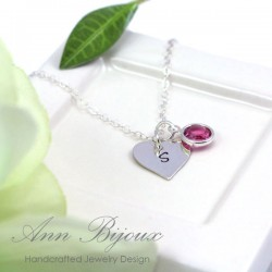 Personalized Hand Stamped Heart Initial Necklace