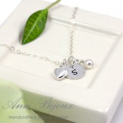 Dainty Sterling Silver Initial Heart Necklace