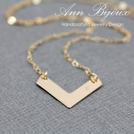 Personalized Hand Stamped Chevron Necklace