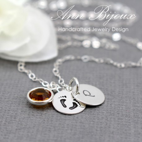Personalized Hand Stamped Footprint with Initial Necklace