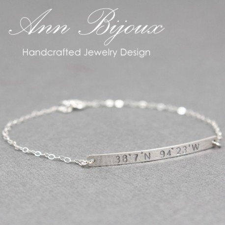 Personalized Sterling Silver GPS Coordinates Bracelet