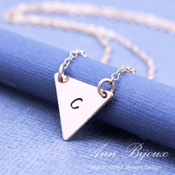 Personalized 14k Gold Filled Dainty Triangle Initial Necklace