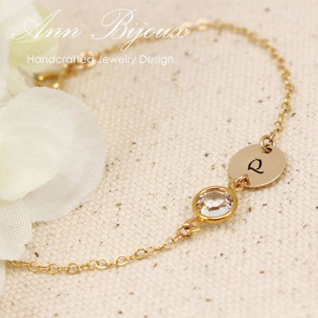 Gold Filled Initial with Swarovski Birthstone Bracelet