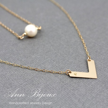 Personalized Hand Stamped Chevron and Pearl Layered Necklace