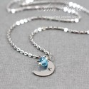 Dainty Moon Charm with Birthstone Necklace