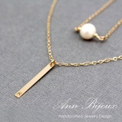 Gold Filled Vertical Bar and Pearl Minimalist Necklace