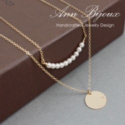Hand Stamped Initial with Pearl Necklace
