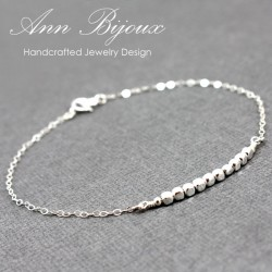 Personalized Sterling Silver Beaded Cubic Bar Bracelet