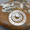 "Personalized Hand Stamped ""I Love You To The Moon and Back"" Message Necklace"