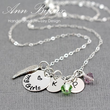 Personalized Hand Stamped Initial with Angel Wing Necklace
