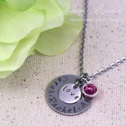 Personalized Hand Stamped Mommy Love Necklace