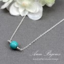 Sterling Silver Dainty Turquoise Necklace