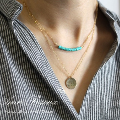 Dainty 14k Gold Fill or Sterling Silver Silver/Delicate Gemstone Bar Necklace