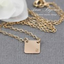 Personalized Gold Square Plate Necklace