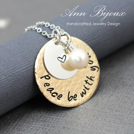 Hand Stamped 'Peace be with you' Message Necklace
