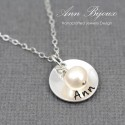 Sterling Silver Name Necklace with Fresh Water Pearl