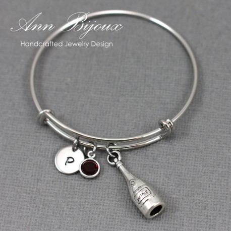 Personalized Initial with Wine Bottle Charm Adjustable Bangle